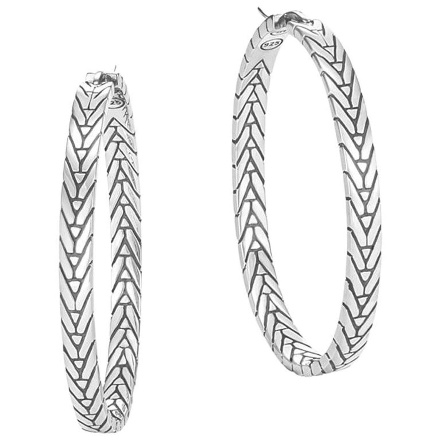 d592e533f960 John Hardy Women s Modern Chain Silver Medium Hoop Earrings For Sale at  1stdibs