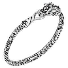 John Hardy Women's Silver Bracelet with Black Sapphire, Size M, BBS601334BLSBNXM