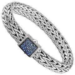 John Hardy Women's Silver Bracelet with Blue Sapphire, Size M, BBS94052BSPXM
