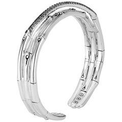 John Hardy Women's Silver Cuff with Black Sapphire, CBS59384BLSBNXM