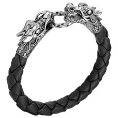 John Hardy Women's Silver Dragon Bracelet on Black Leather, BB65089BLXM
