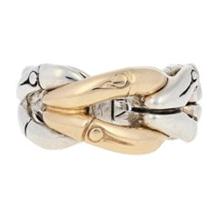 John Hardy Woven Bamboo Ring, Sterling Silver and 18 Karat Yellow Gold Statement
