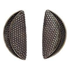 John Hardy Woven Sterling Silver Sculptural Clip On Earrings