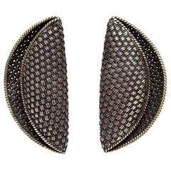 John Hardy Woven Sterling Silver Sculptural Clip On Earrings