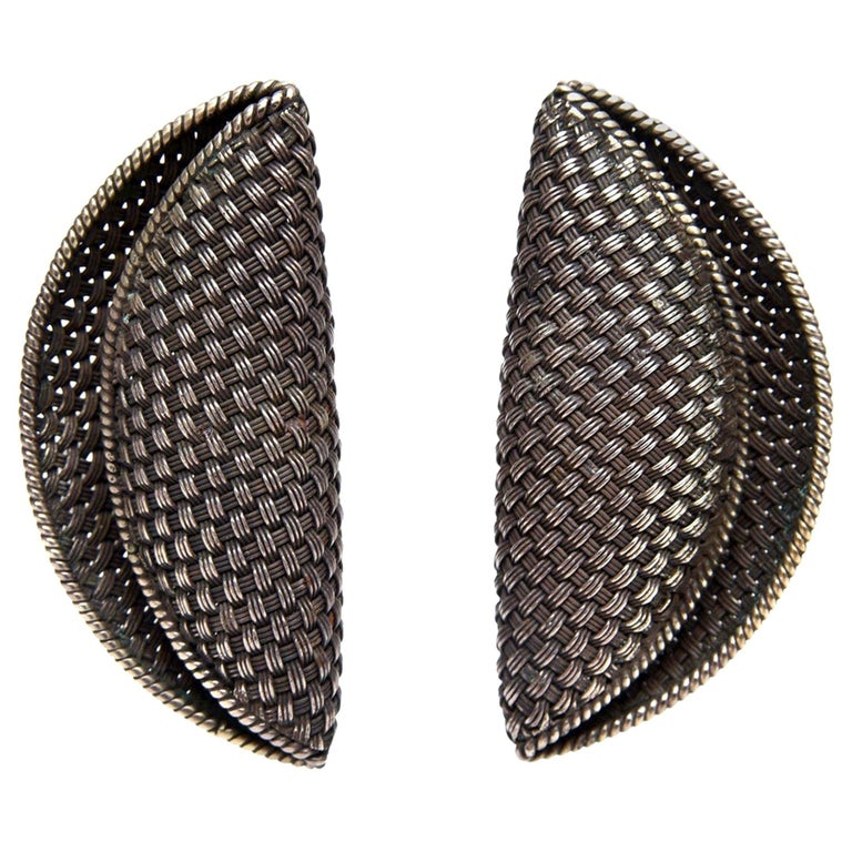 John Hardy Woven Sterling Silver Sculptural Clip On Earrings For Sale