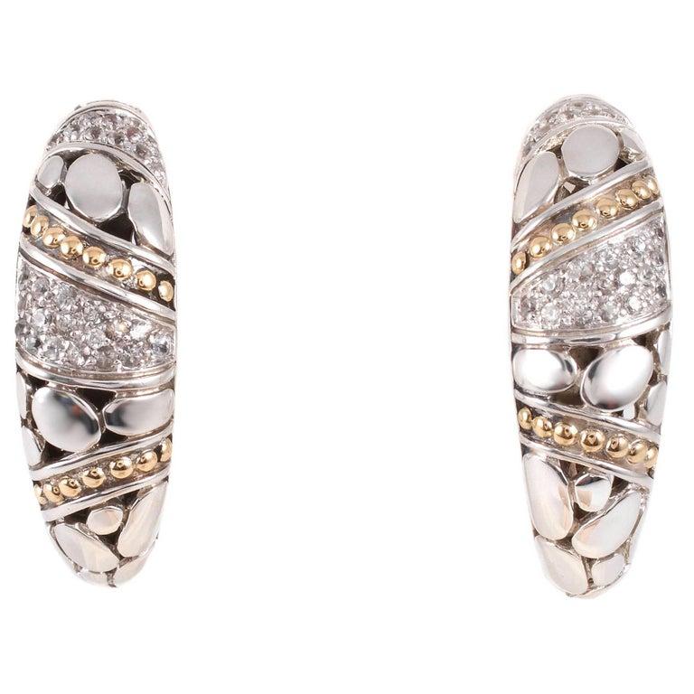 """""""John Hardy"""" Yellow Gold Sterling Silver Diamond Earrings"""