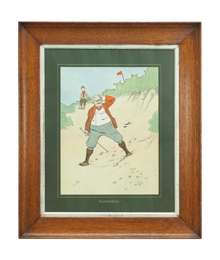 Pair of John Hassall golfing prints. A very nice pair of golfing chromolithographs after J. Hassall entitled 'FORE!' and 'BUNKERED!'. The colorful golf prints are in the original oak frames. FORE! depicts a golfer in the sand with his young caddie,