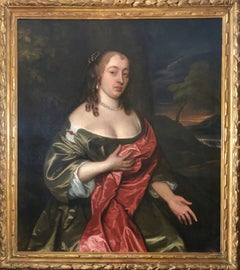 17th Century Portrait of a Lady in a Green Dress and Red Cloak By John Hayls.