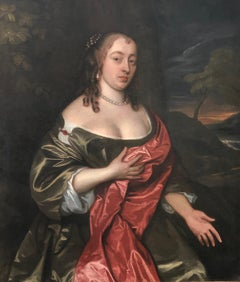 17TH CENTURY PORTRAIT OF A  LADY IN A GREEN DRESS AND RED CLOAK BY JOHN HAYLS