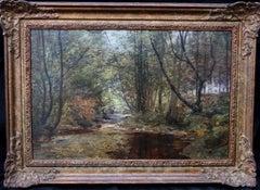 A Woodland Stream - Scottish Edwardian Impressionist art landscape oil painting