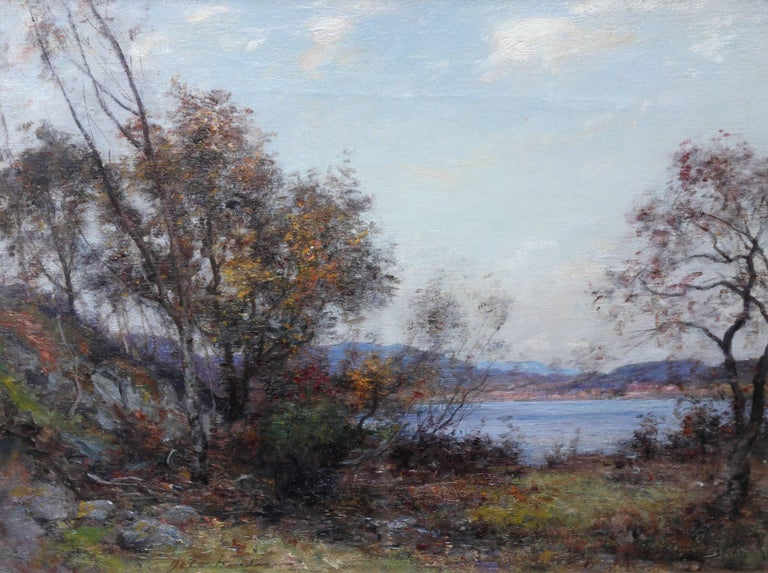 Panoramic Scottish Loch Landscape- Edwardian Impressionist oil painting Scotland For Sale 1