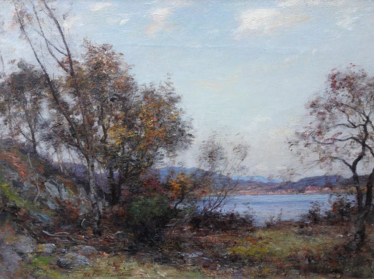 Panoramic Scottish Loch Landscape- Edwardian Impressionist oil painting Scotland For Sale 6