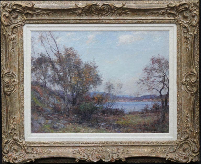 Panoramic Scottish Loch Landscape- Edwardian Impressionist oil painting Scotland For Sale 7