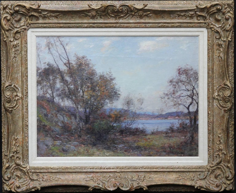 An original Scottish Impressionist oil by John Henderson. A fine painting, it dates to circa 1905 and has excellent provenance. It is an oil on canvas which depicts an open loch landscape in a stunning and fresh palette. The landscape was possibly