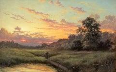 River Landscape, Summer evening sunset, original oil on canvas