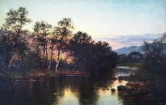 Scottish Evening River Landscape, original oil on canvas