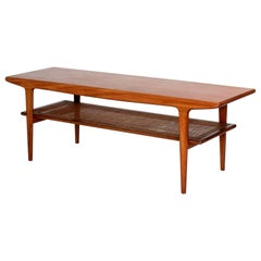 John Herbert for Younger, Mid Century Danish Style Teak and Cane Coffee Table