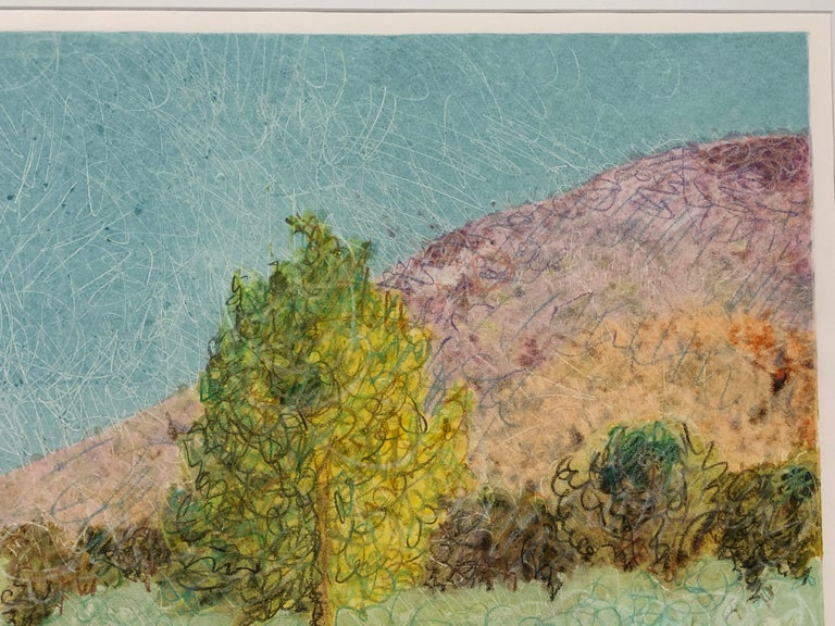 Cottonwood in Jemez Canyon by John Hogan mixed media monotype, New Mexico For Sale 1