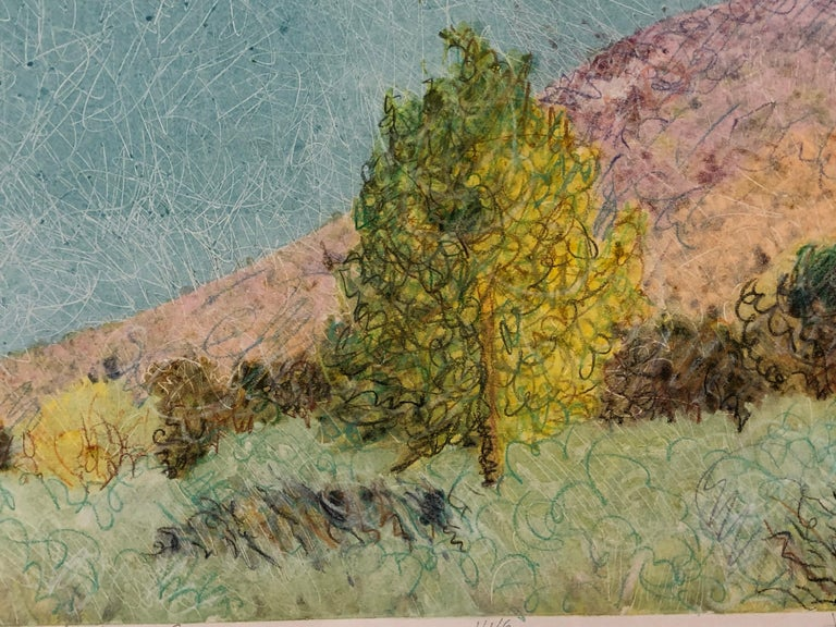 Cottonwood in Jemez Canyon by John Hogan mixed media monotype, New Mexico For Sale 2
