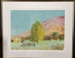 Cottonwood in Jemez Canyon by John Hogan mixed media monotype, New Mexico