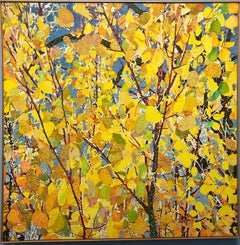 Aspens by John Hogan, mixed media painting, yellow leaves, blue sky,  Santa Fe