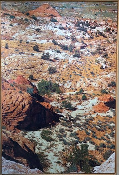 Canyon and Shadows, John Hogan desert landscape mixed media painting oranges