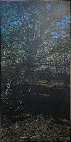 Dark Piñon, large vertical painting, black, brown, blue, tree, John Hogan