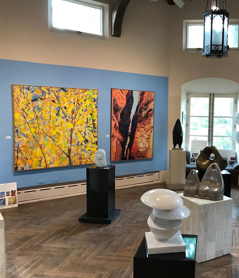 Gateway II, desert canyon landscape painting, oranges, blue John Hogan, Arizona - Orange Landscape Painting by John Hogan