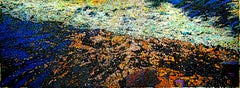 Mountain Stream, contemporary mixed media large scale painting blue orange black