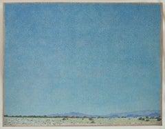 Sky Over Santa Fe, acrylic on canvas, large painting, blue sky, landscape,