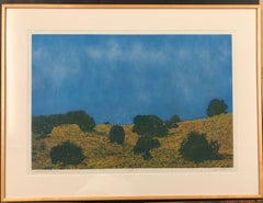 Cloudy Day Prairie II, by John Hogan, New Mexico Landscape Color Etching, blues