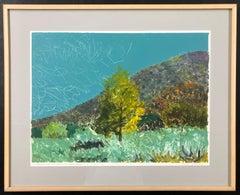 Cottonwoods in Jemez Canyon mono print by John Hogan New Mexico landscape green