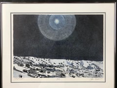 Ghost Moon by John Hogan, Desert Night Landscape lithograph black and white