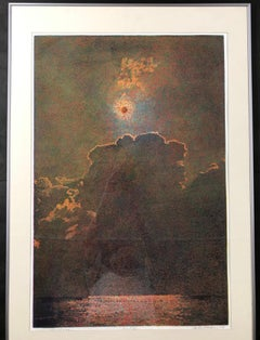 Lunar Eclipse by John Hogan etching landscape red, brown, black limited edition