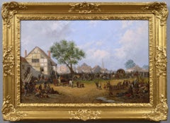 19th century landscape oil painting of a village fair