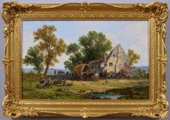 19th century landscape oil painting of a village tavern