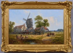 19th century landscape oil painting of a village tavern with a windmill