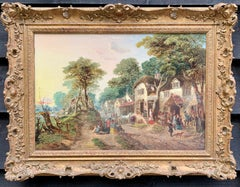 Antique Oil of an English Village landscape, with horses, people, a pub.