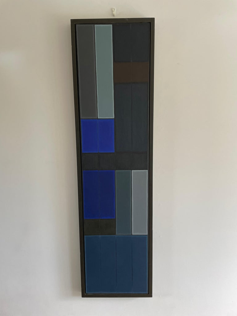 Untitled Blue Abstract Number 1.  Geometric Oil painting - Painting by John Hopwood