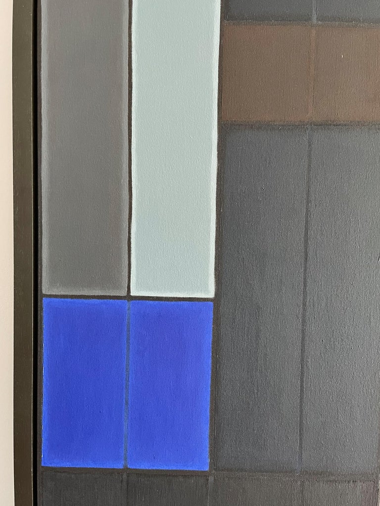 Untitled Blue Abstract Number 1.  Geometric Oil painting - Abstract Geometric Painting by John Hopwood