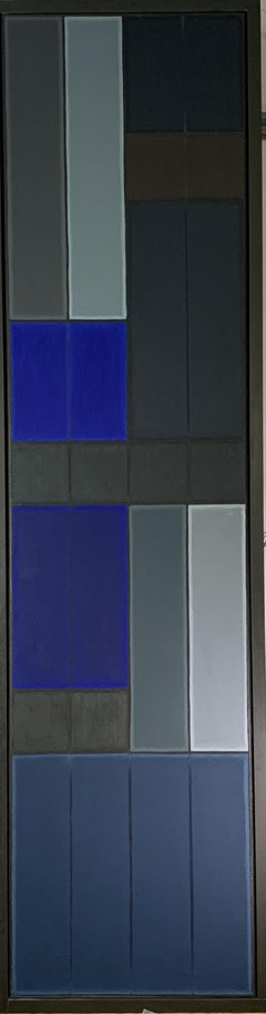 Untitled Blue Abstract Number 1.  Geometric Oil painting
