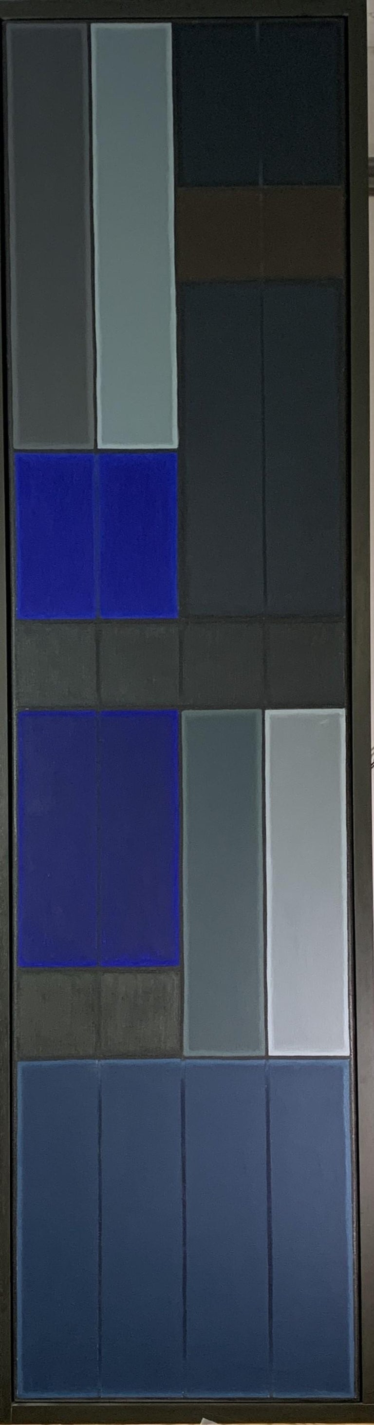 John Hopwood Abstract Painting - Untitled Blue Abstract Number 1.  Geometric Oil painting