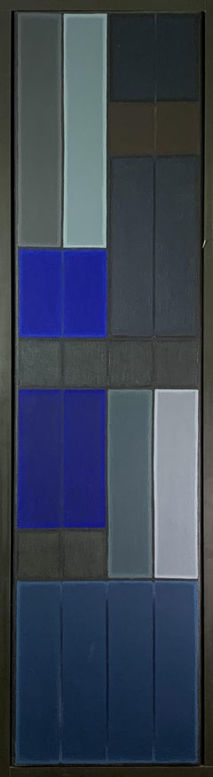 Untitled Blue Abstract Number 2.  Geometric Oil Painting