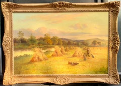 Antique English Victorian Harvest time river landscape, with figures and dog