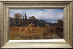 Harvest Time in Yorkshire - British art 19th century landscape oil painting