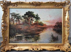 Sonning on Thames - 19th Century Sunset River Landscape Oil Painting