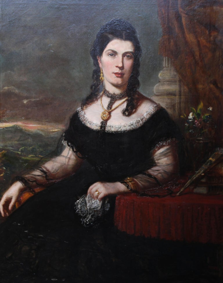 Portrait of a Lady - Scottish art Victorian oil painting Edinburgh society lady For Sale 6