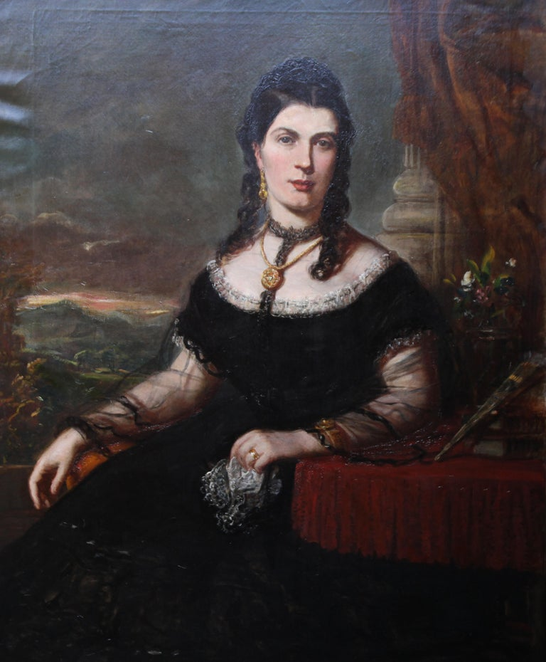 Portrait of a Lady - Scottish art Victorian oil painting Edinburgh society lady For Sale 7