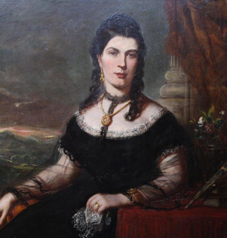 Portrait of a Lady - Scottish art Victorian oil painting Edinburgh society lady - Realist Painting by John Horsburgh