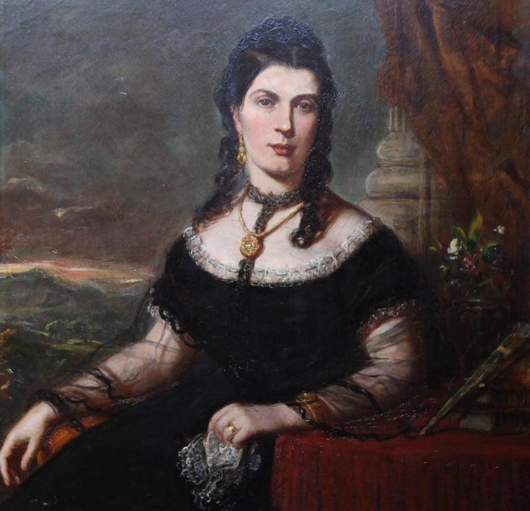 Portrait of a Lady - Scottish art Victorian oil painting Edinburgh society lady - Black Portrait Painting by John Horsburgh